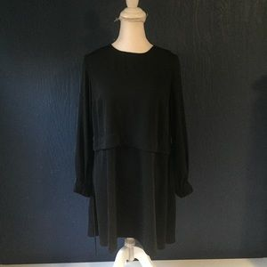 NWT ASOS Black Flowy Tunic Top size 6 3/4 Sleeves